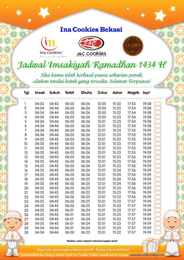 Jadwal Imsakiyah 1434 H Ina Cookies Bekasi