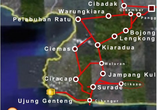Routing maps ke ujung Genteng