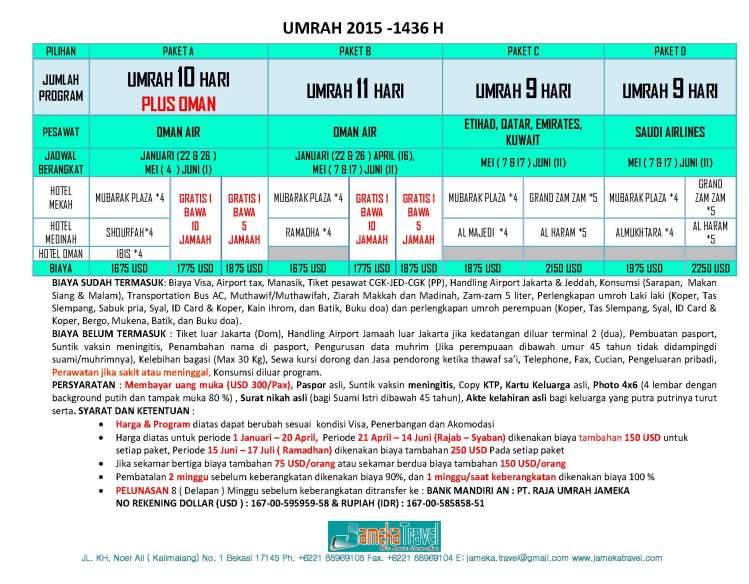 UMRAH REGULER 2015 -2016